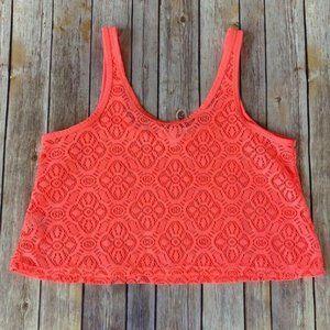 Aeropostale Neon Orange Lace Knit Crop Top S